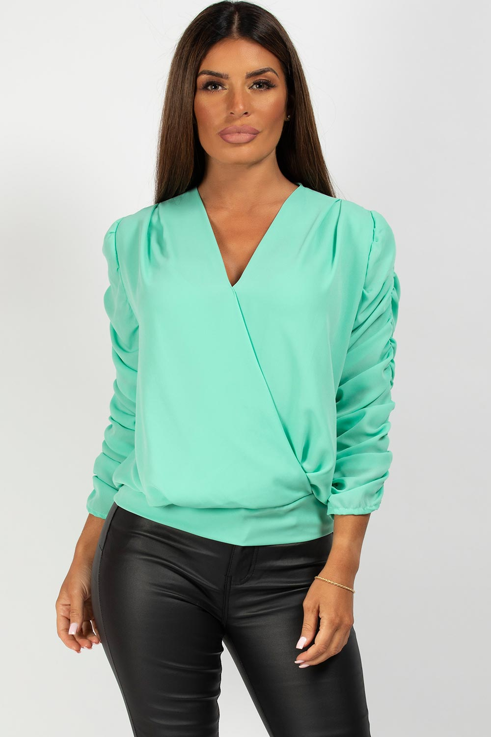mint wrap front blouse