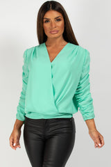 mint long sleeve wrap front blouse