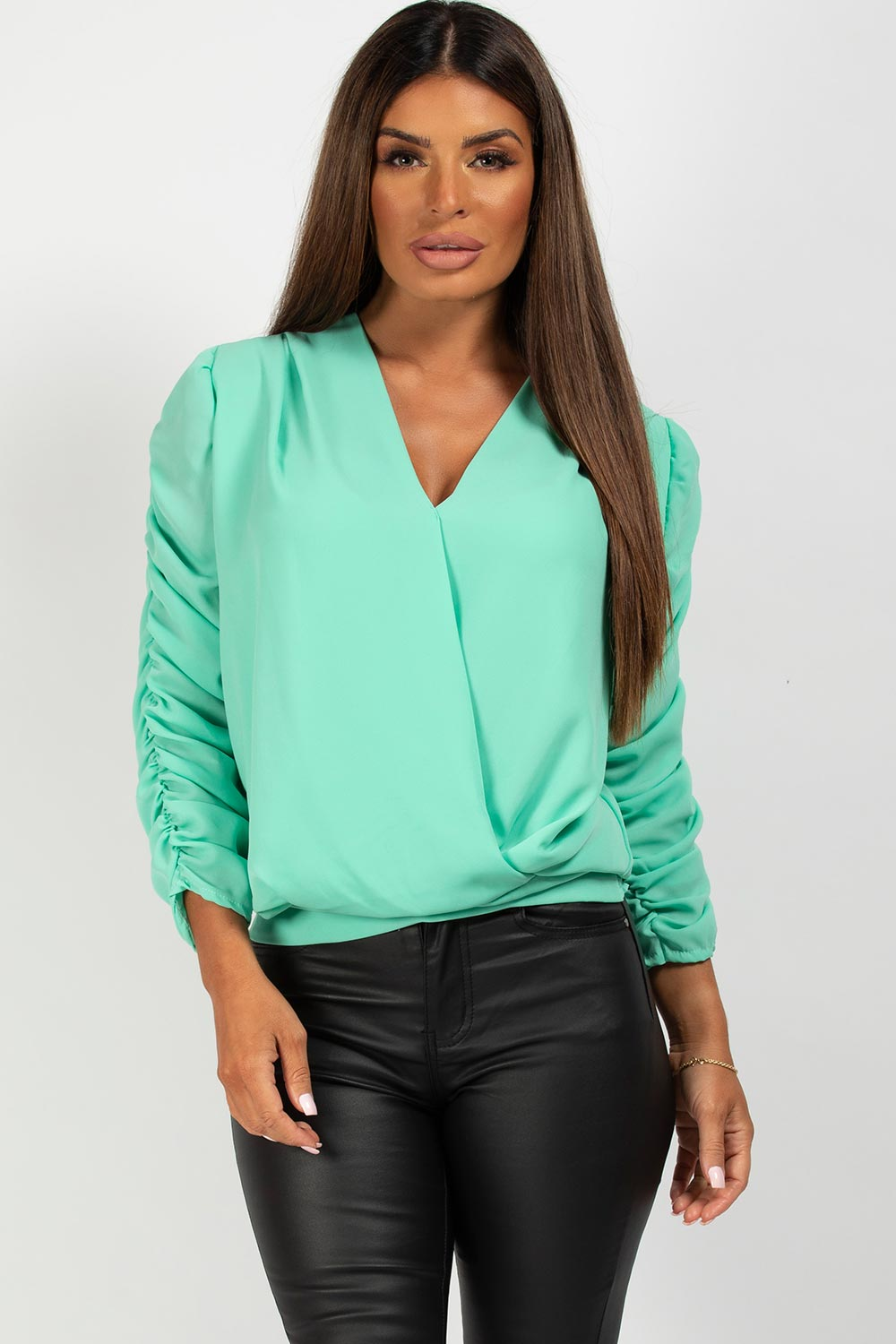 mint wrap front long sleeve blouse