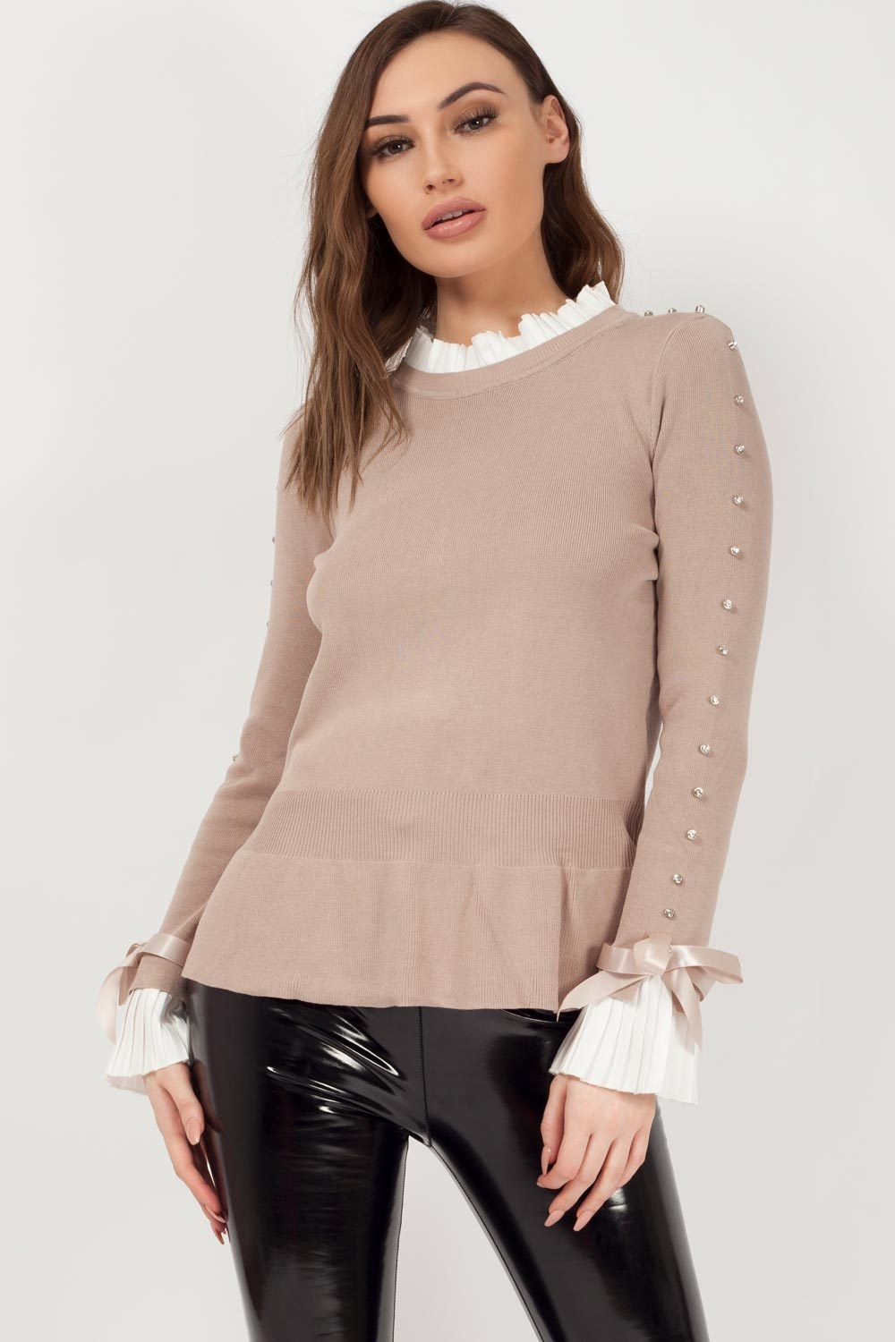 jumper with bows on sleeves mocha