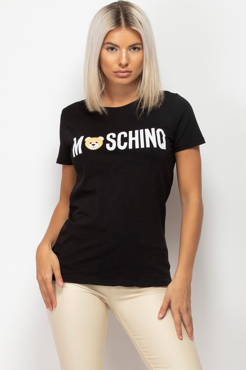 womens moschino inspired t shirt black