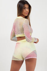 fishnet shorts and crop top two piece set styledup fashion