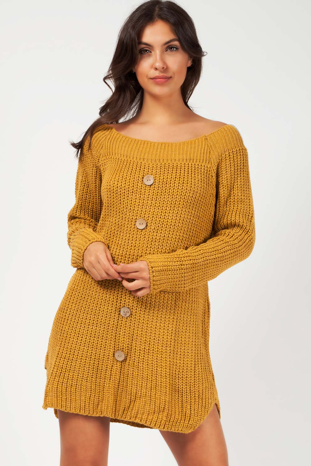 off shoulder long sleeve jumper dress