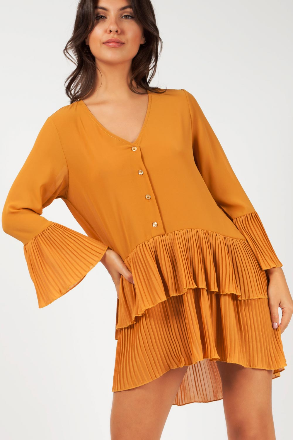 pleated long sleeve dress mustard