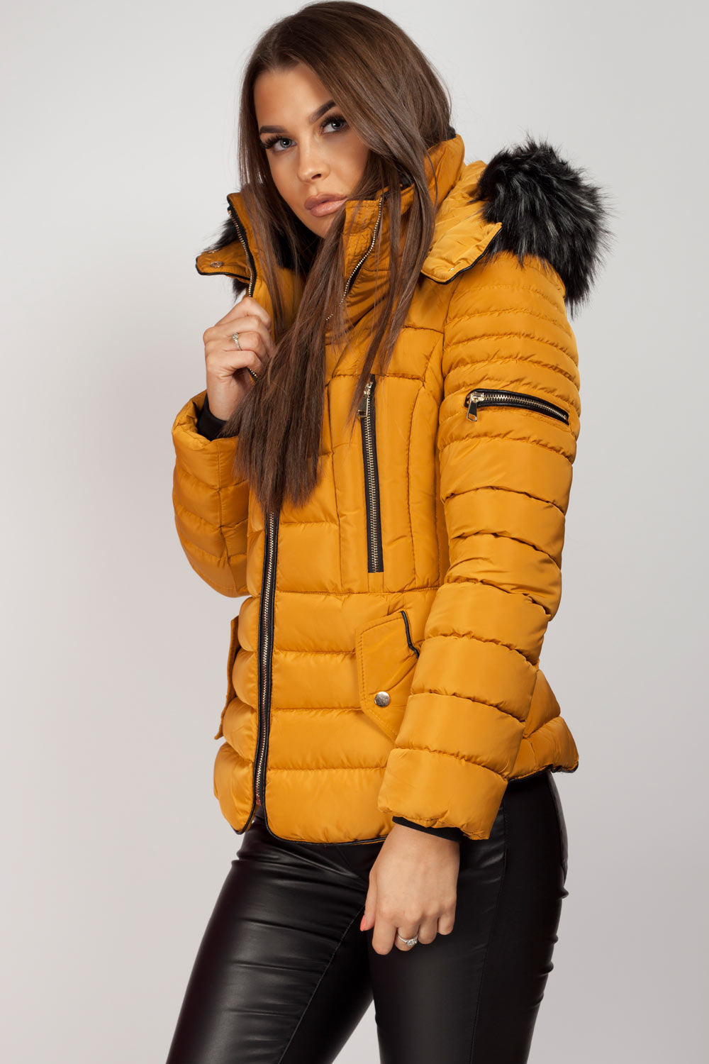 mustard padded coat with chunky fur hood