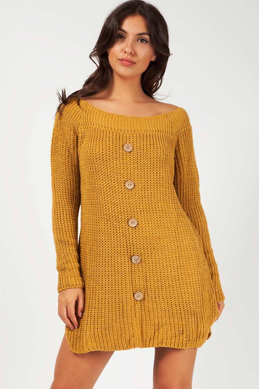 chunky knit oversized jumper dress mustard