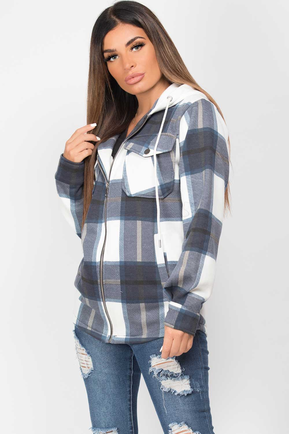 womens shacket with hood navy check