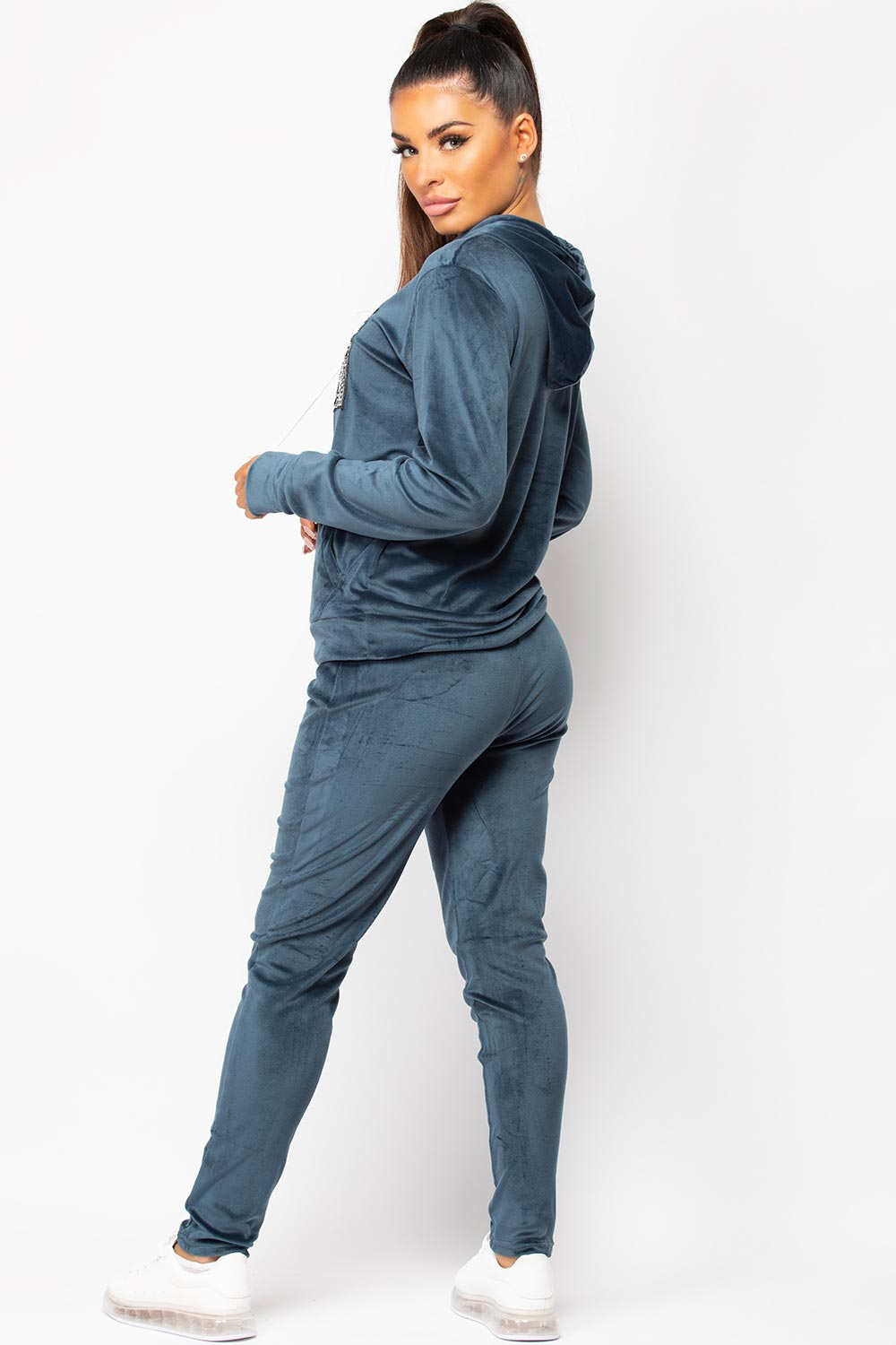 navy velour loungewear set