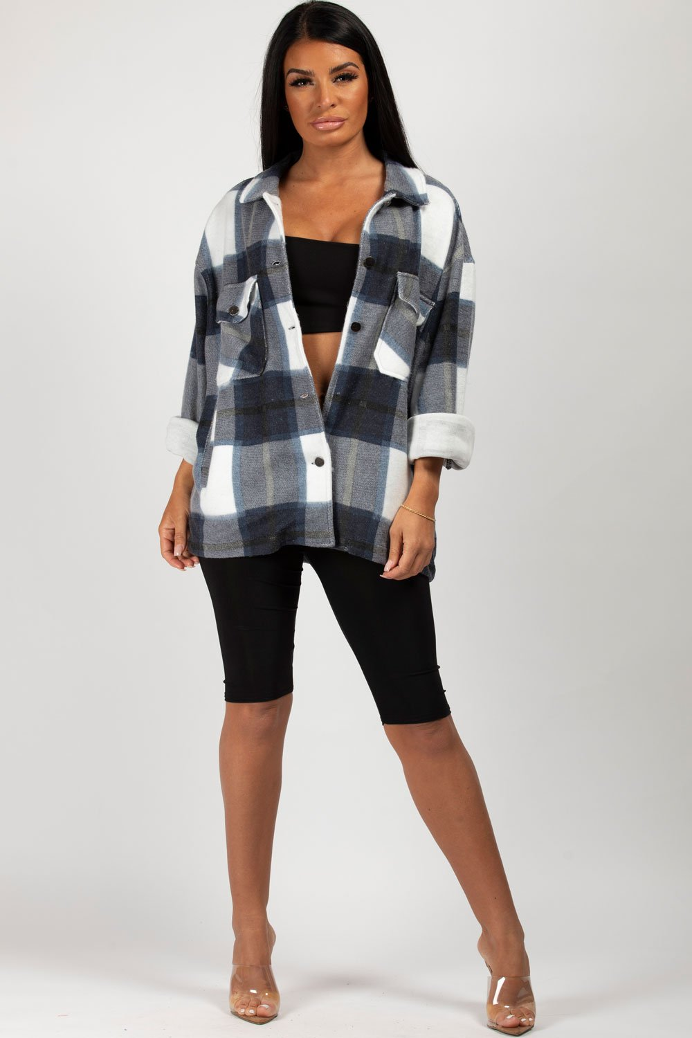 womens check oversized shacket