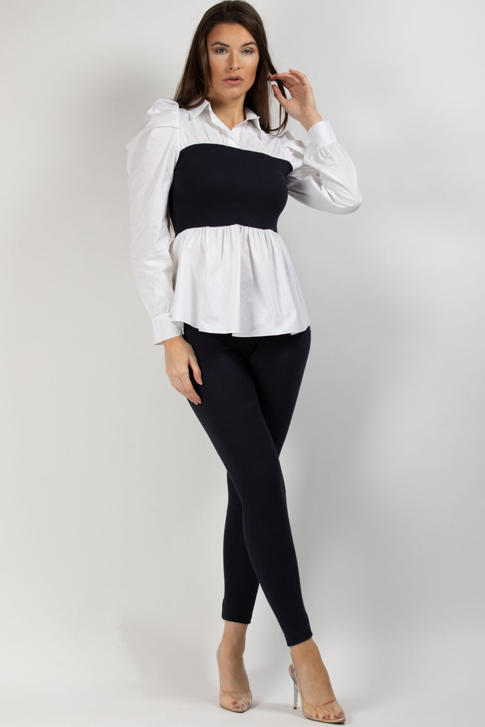 puff sleeve ribbed shirt leggings co ord set