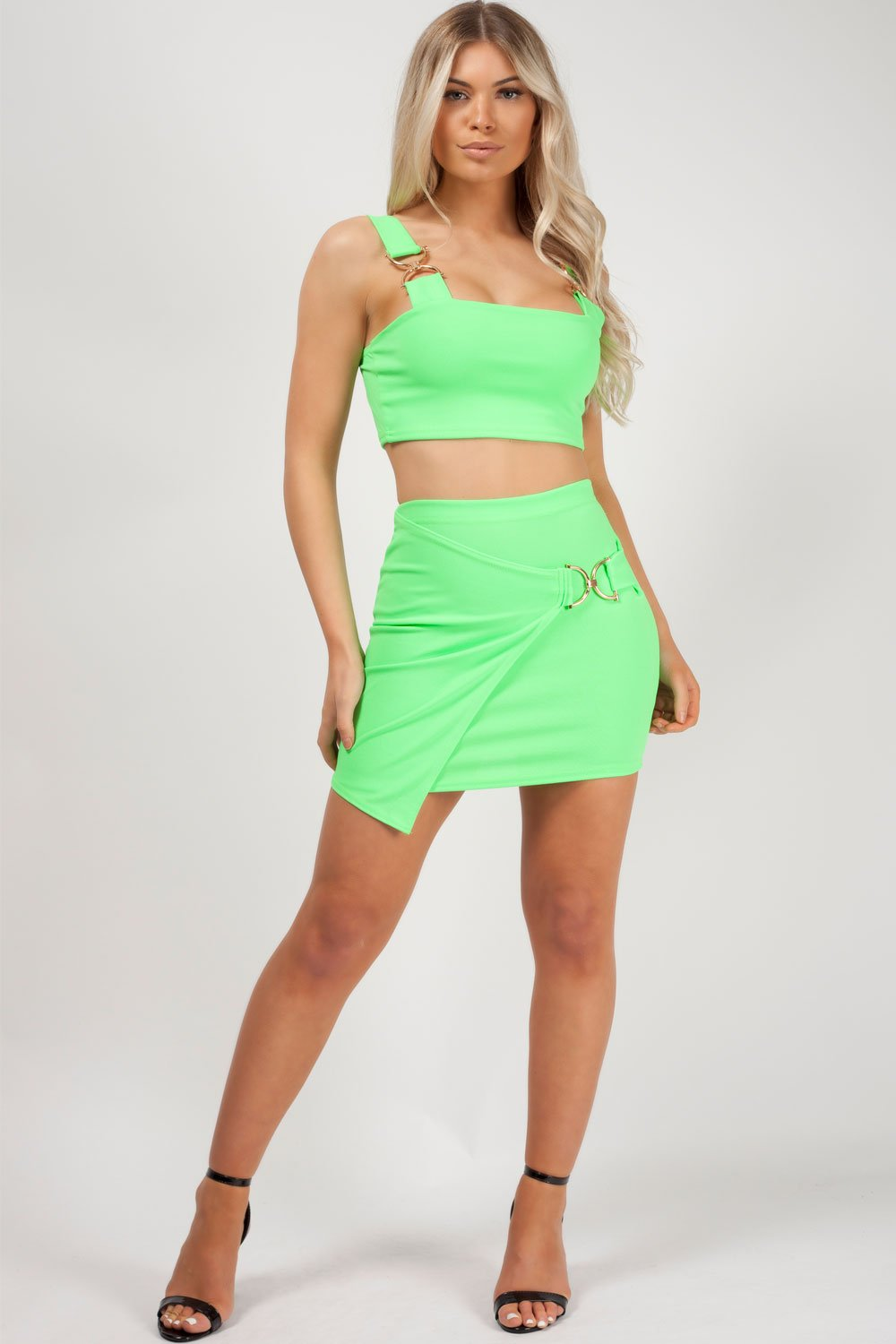 co ord skirt and top neon green