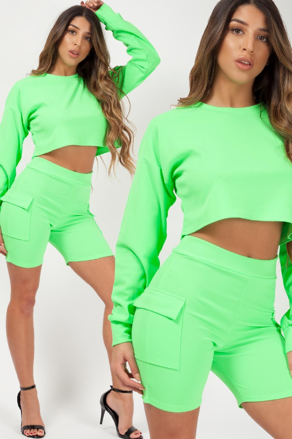 cycling shorts and crop top set styledup fashion