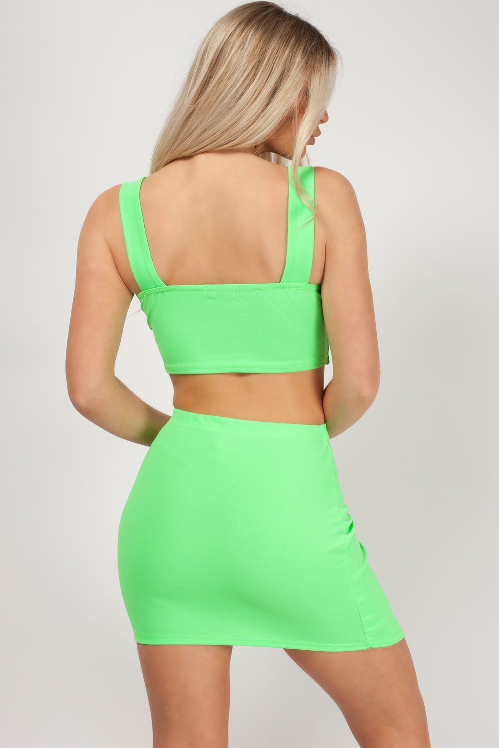 two piece skirt and top neon green