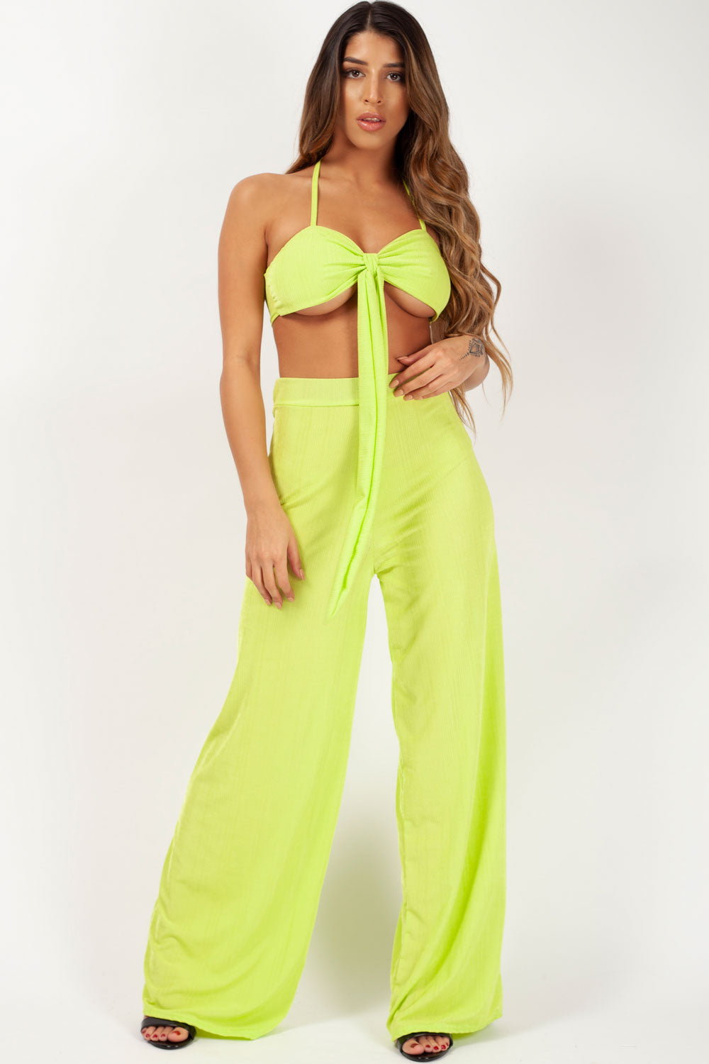 wide leg trousers and crop top set