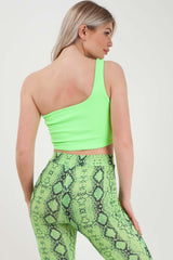 one shoulder crop top neon green