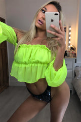 neon green ruffle bardot crop top