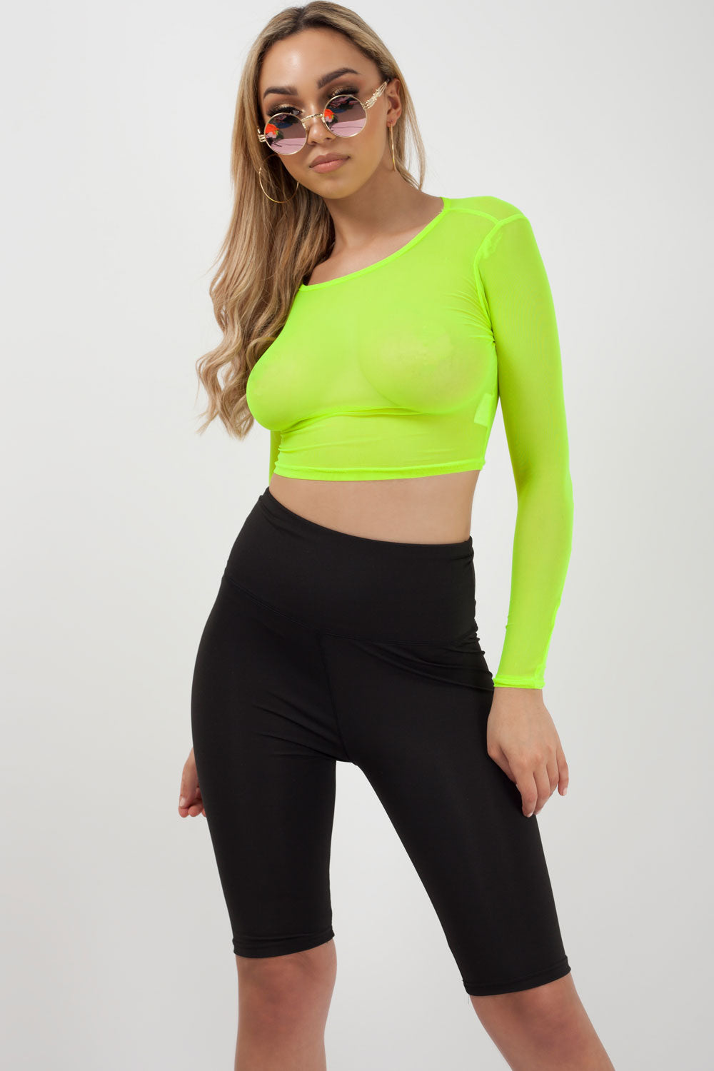 mesh crop top neon green