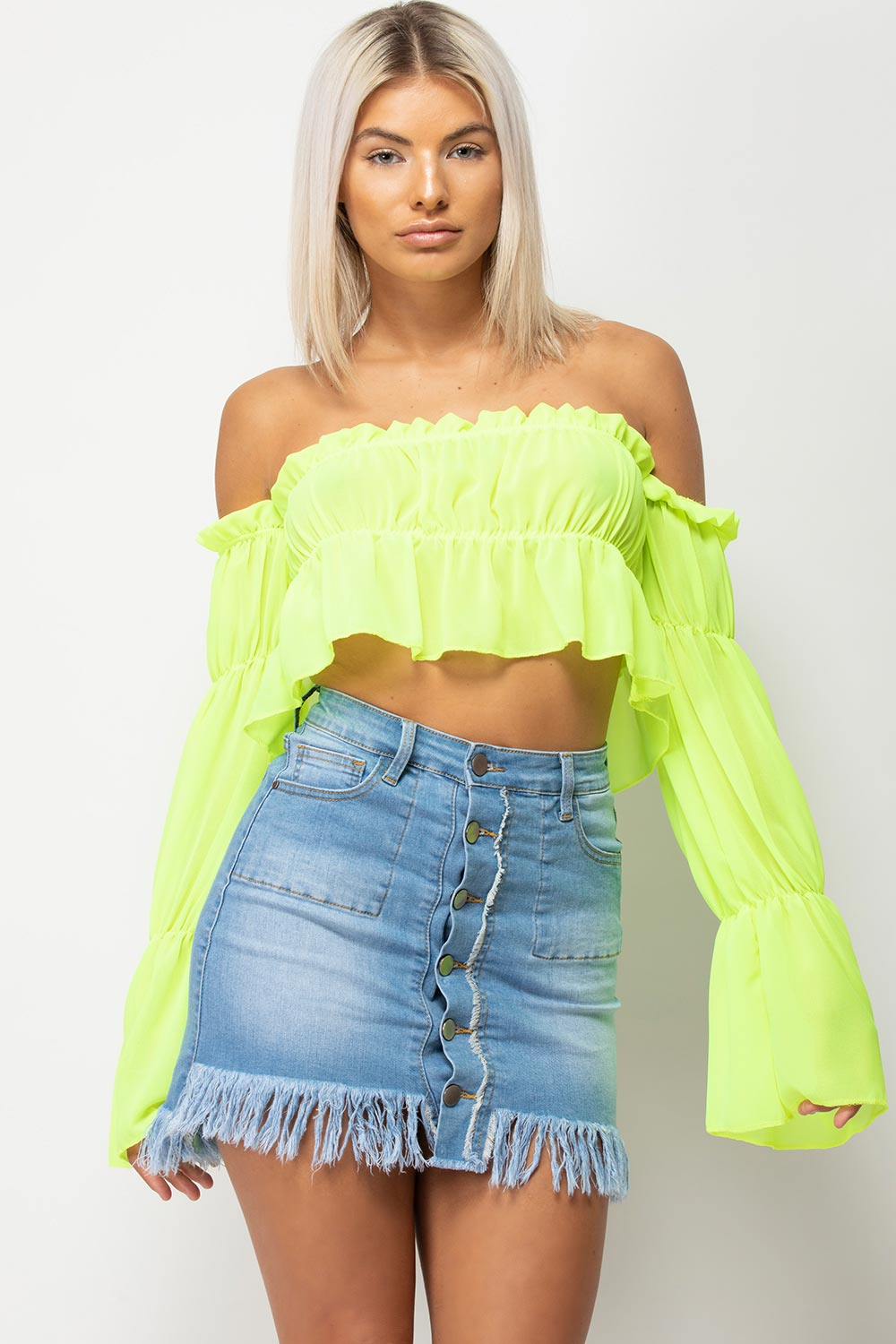 neon off shoulder frill top