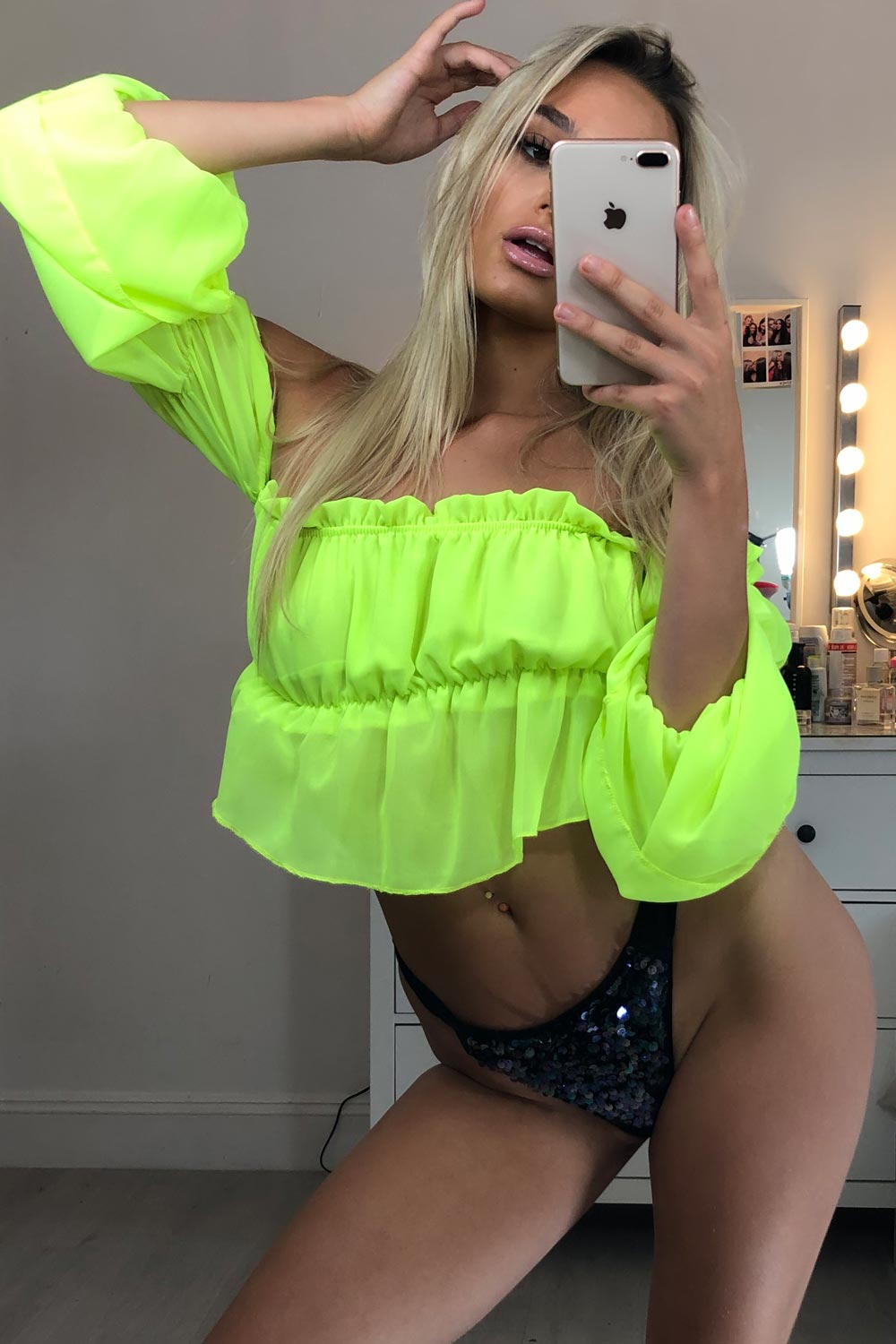 off shoulder neon green crop top