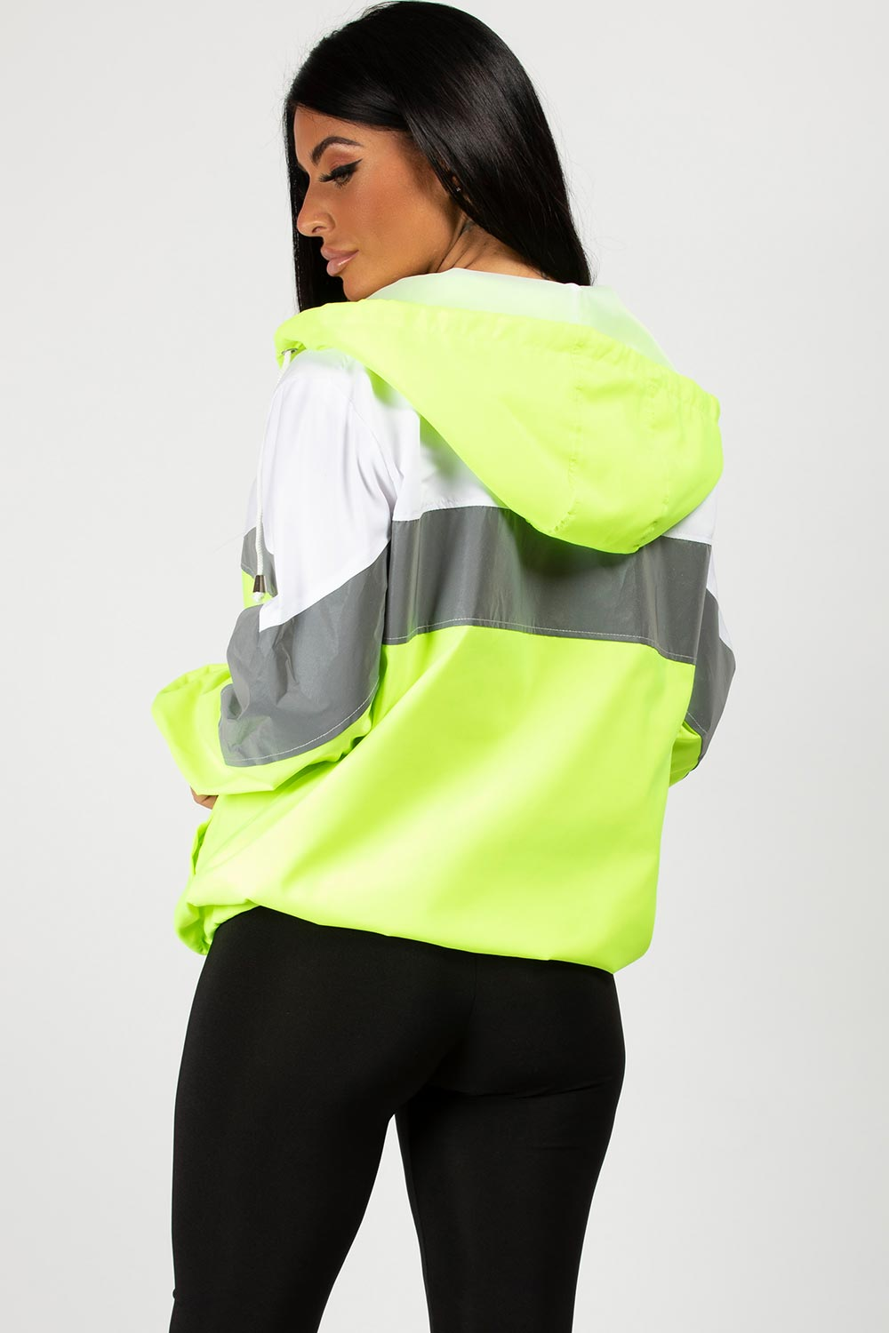 neon green reflective oversized jacket