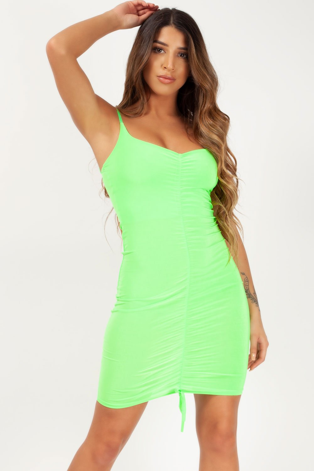 ruched front neon lime dress styledup fashion