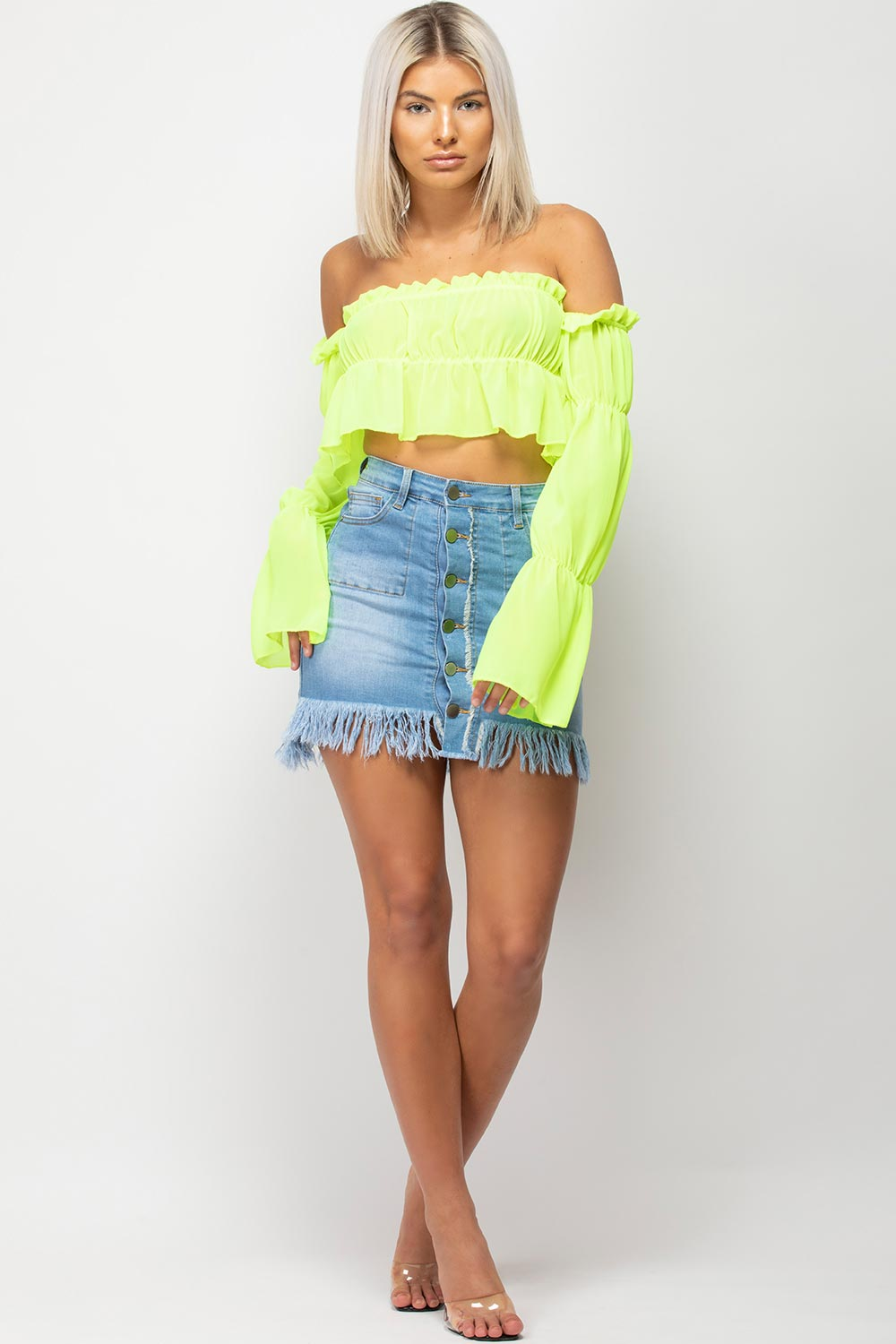 neon green off shoulder blouse