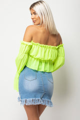 neon bardot frill crop top
