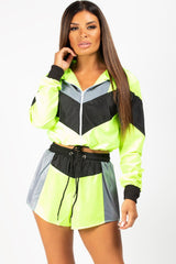 neon green shell suit set