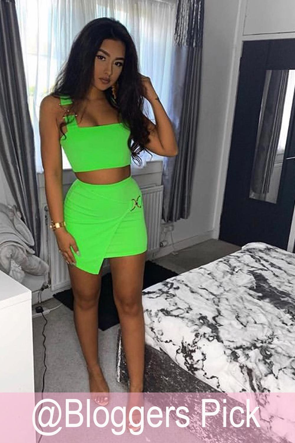 neon green skirt and top set