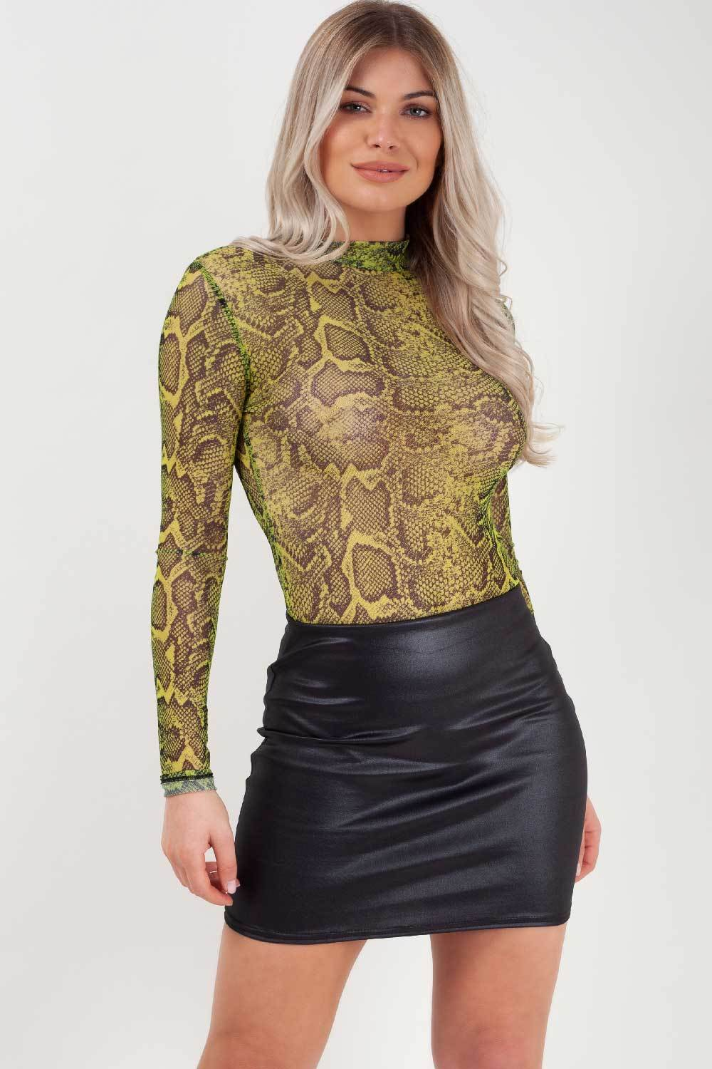 lime green snake print bodysuit