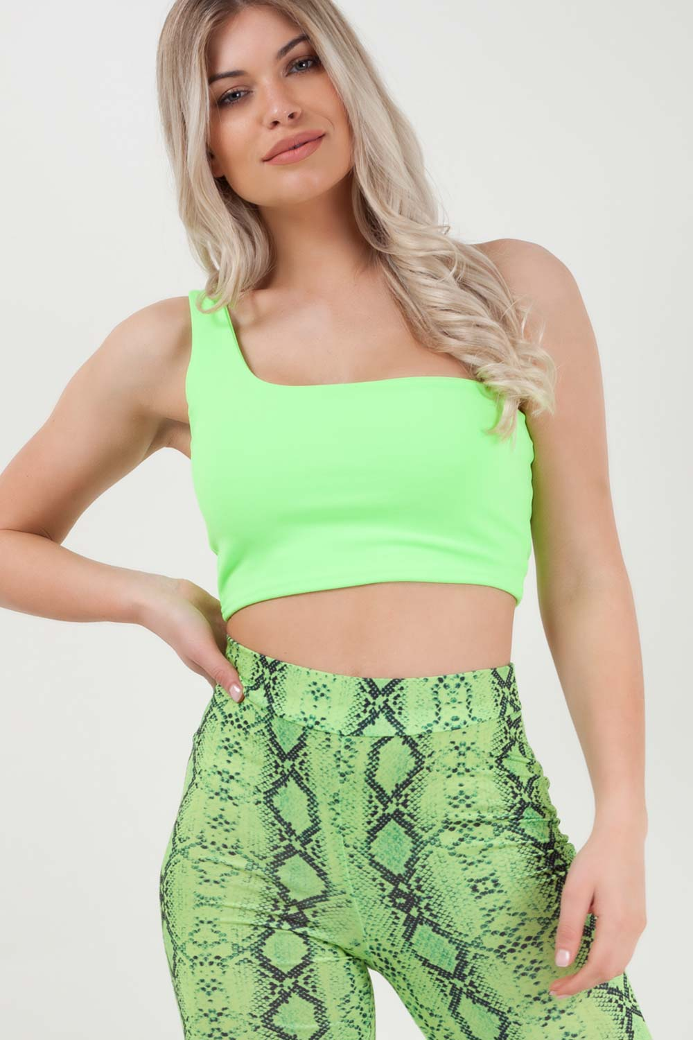 neon lime one shoulder crop top