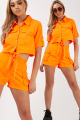 neon orange festival utility shorts and crop top set uk
