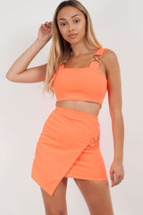 neon orange mini skirt and crop top co ord set styledup fashion
