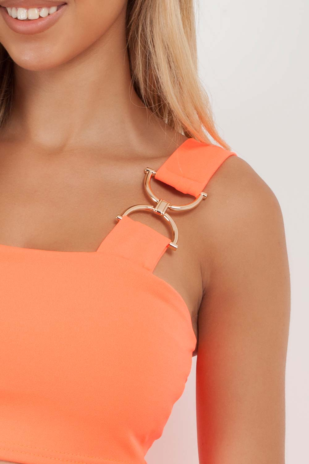 neon orange crop top