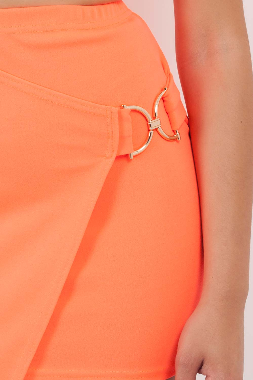 neon orange mini skirt