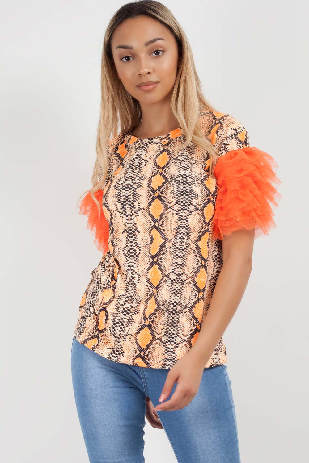 tulle sleeve t shirt neon orange