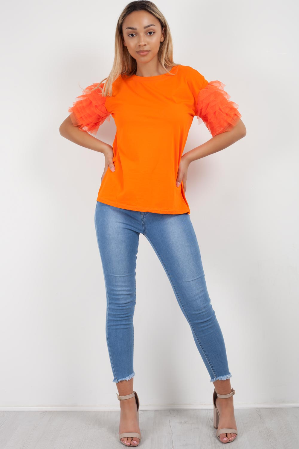 neon orange tutu sleeve t shirt