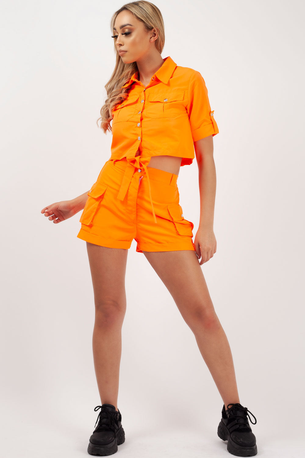 neon orange co ord outfits