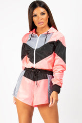 neon pink colour block shell suit