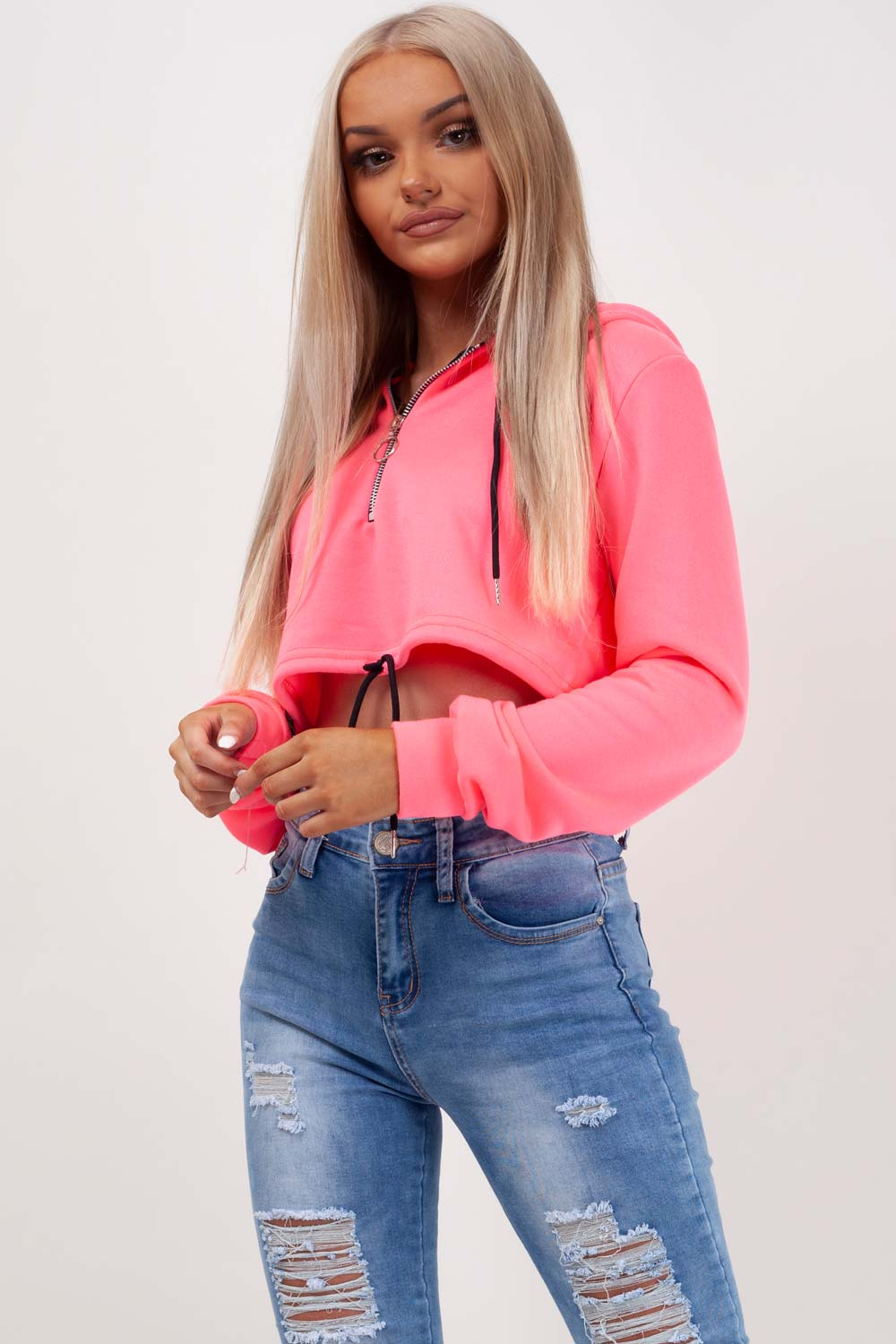drawstring waist crop hooded top styledup fashion