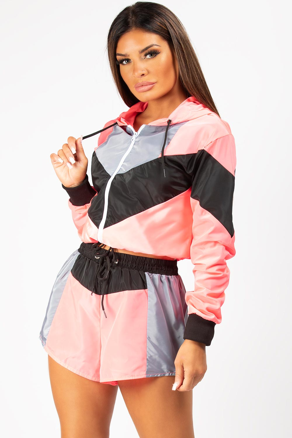 neon pink colour block co ord set