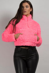 Neon Pink Teddy Bear Pullover Jacket