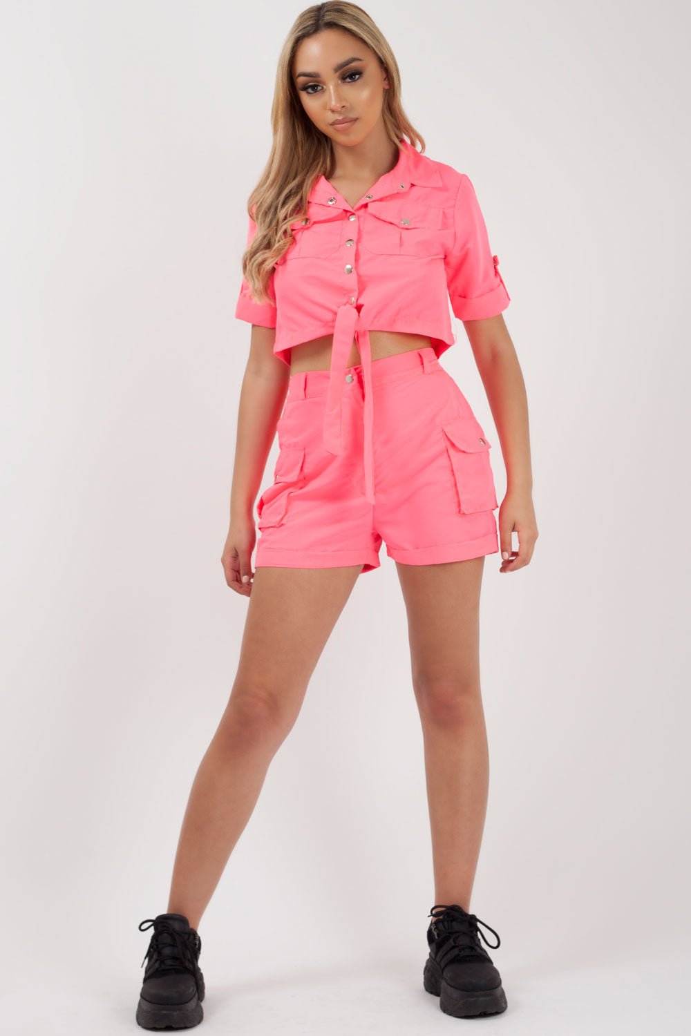 neon pink crop top and utility shorts two piece set styledup fashion