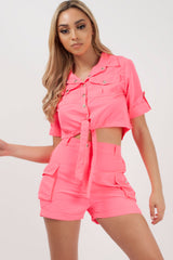 crop top and neon pink utility shorts co ord