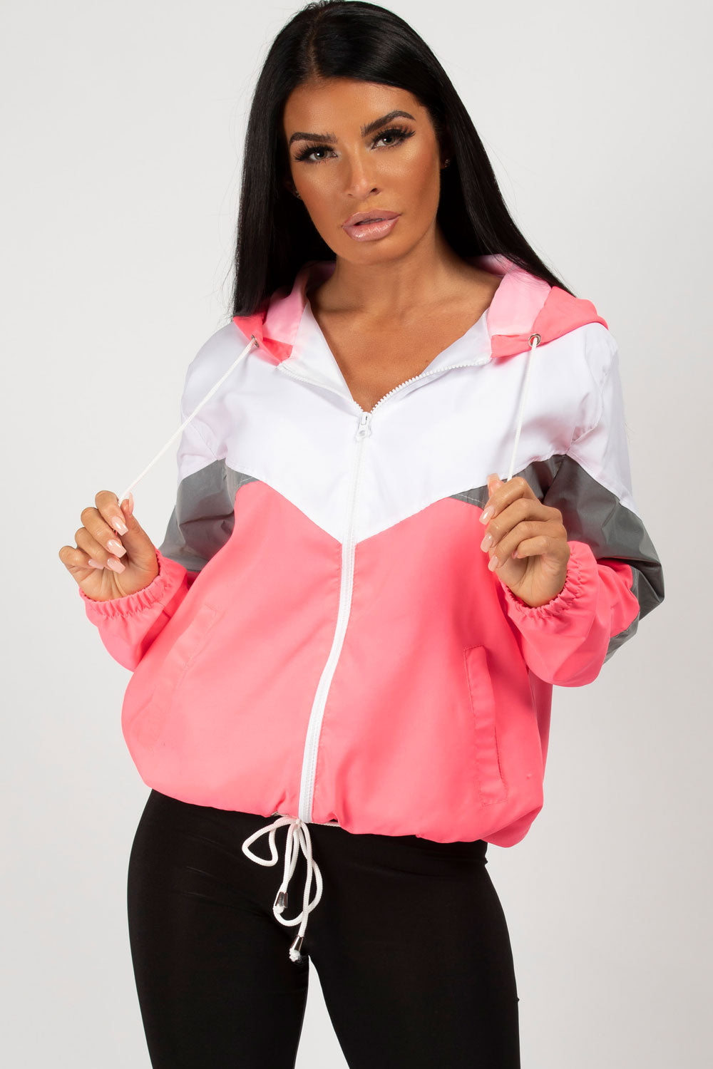 neon pink oversized windbreaker womens