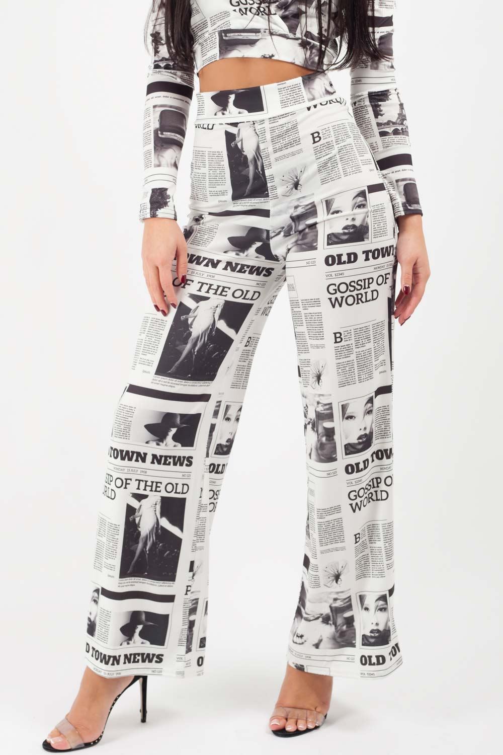 white newspaper print trousers on sale uk