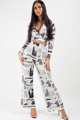 newspaper print trousers