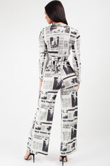 wide leg news paper print trousers