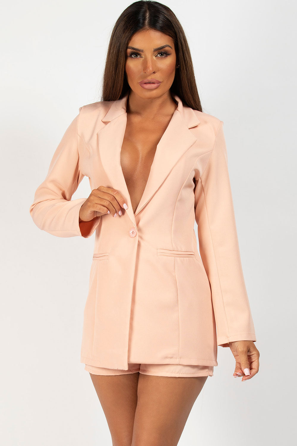 nude blazer and short two piece set