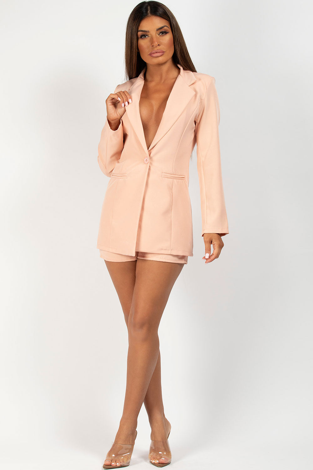 nude blazer and cc buckle shorts co ord set